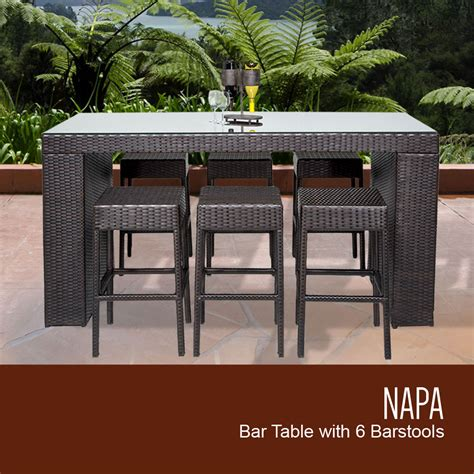 tk classics napa bar table set with backless barstools