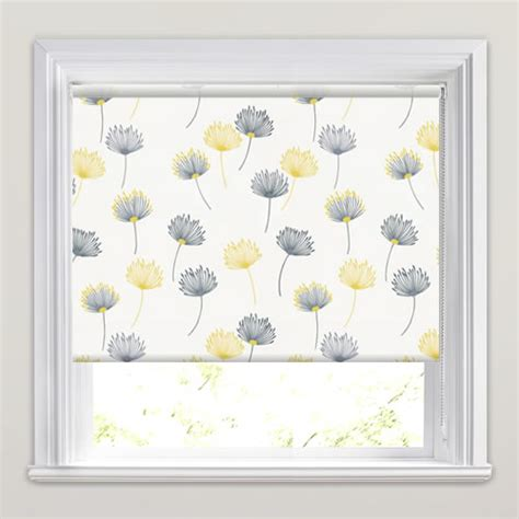white wood blinds dandelion patterned roller blinds in white grey yellow