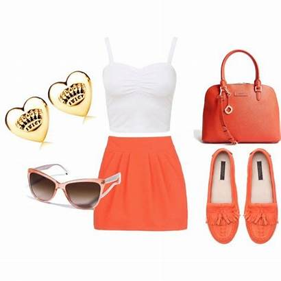 Summer Polyvore Orange Outfit Outfits Wear Bright