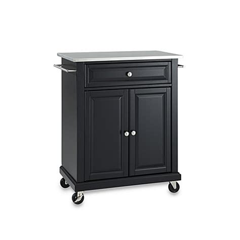 kitchen island rolling cart buy crosley stainless top rolling portable kitchen cart island in black from bed bath beyond