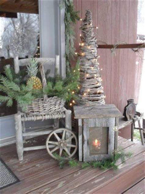 Festive Rustic Christmas Porch Display Pictures Photos