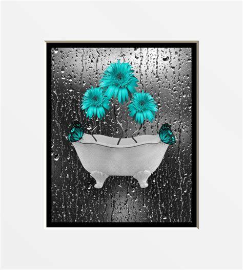 teal gray wall art photography daisy flowers butterflies