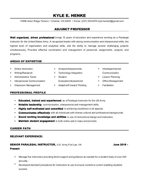 Sle Adjunct Professor Resume by Resume Adjunct Professor Vvengelbert Nl