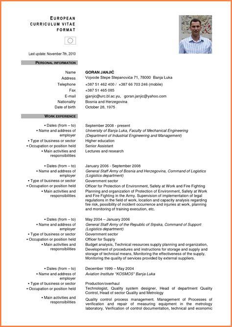 Cv Model by Curriculum Vitae Model European European Cv Format