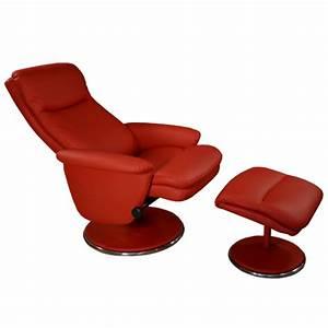 Fauteuil Cuir Rouge : fauteuil relax simili cuir avec pouf assorti pour s ~ Teatrodelosmanantiales.com Idées de Décoration