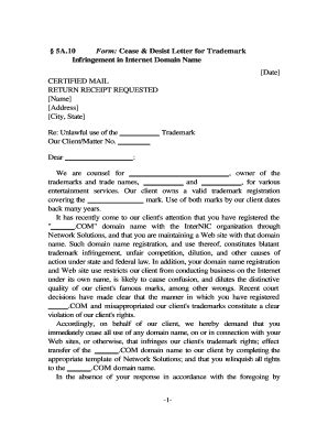 printable cease  desist template forms fillable
