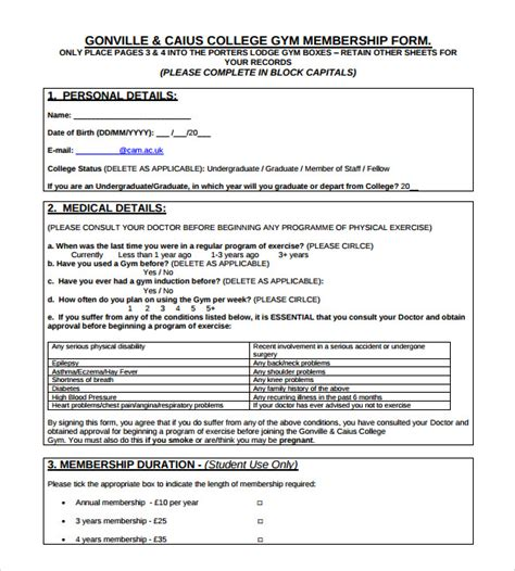 gym contract templates pages word docs