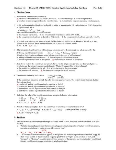 reaction rates and equilibrium worksheet answers chapter free printables worksheet