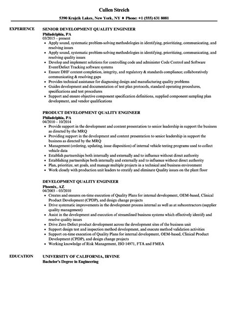 development quality engineer resume sles velvet jobs