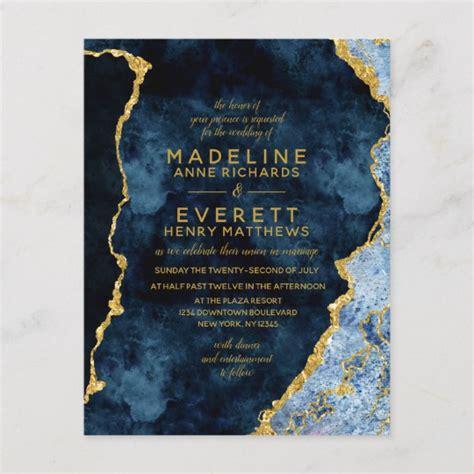 navy blue gold foil agate wedding invitations zazzlecouk