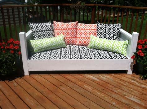 repurposed twin bed    outdoor sofa
