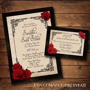 wedding invitation templates black and red wedding With red rose wedding invitations template