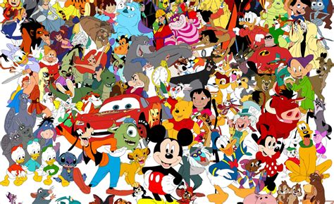 Wallpaper Of All The Disney Cartoon Characters In One Picture
