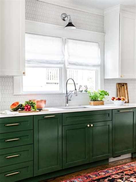 colored  cabinets  white uppers hgtv kitchens