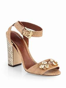 Dolce & gabbana Jeweled Raffia Snakeskin Highheel Sandals ...