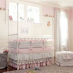 pink and gray chevron crib bedding carousel designs