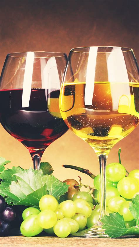 red white wine glasses grapes android wallpaper