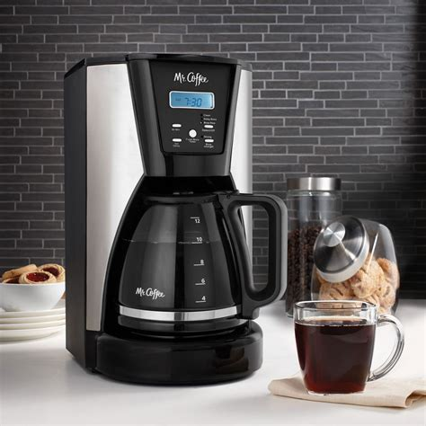 Description enjoy great coffee simply made with the mr. Mr. Coffee 12-Cup Programmable Coffee Maker in Chrome/Black | MrOrganic Store