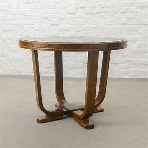 Solid, Wood, Art, Deco, Side, Table, With, Black, Glass, Top, 1950s