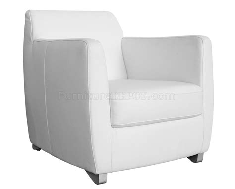 Laurel Armchair In White Leather By Whiteline Imports