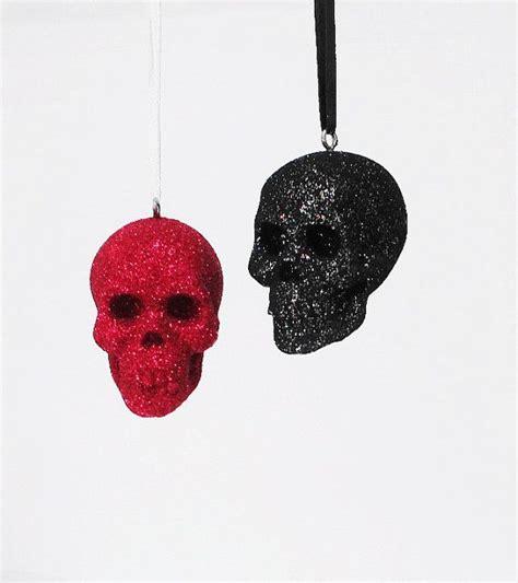 skull set 2 glitter skull christmas ornament skulls