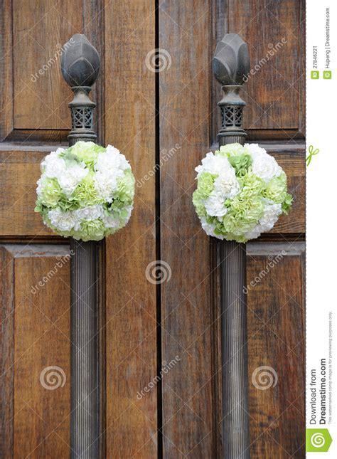 wedding flowers   church door stock image image