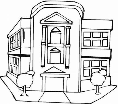 Coloring Building Pages Buildings Office Drawing Capitol