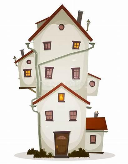 Funny Cartoon Windows Illustration Lots Castle Apartment