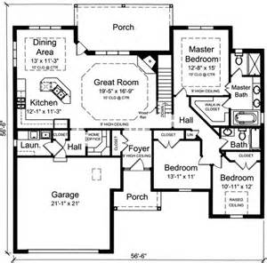 three bedroom house plans plan 39190st one level 3 bedroom home plan offices house and chang 39 e 3