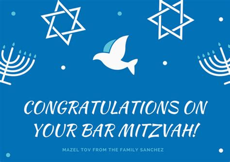 blue mandala bar mitzvah card templates  canva