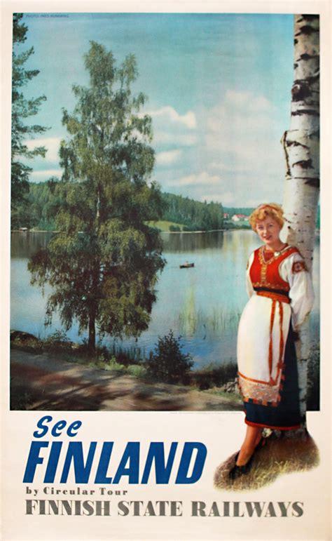 original vintage poster finland finnish state railways