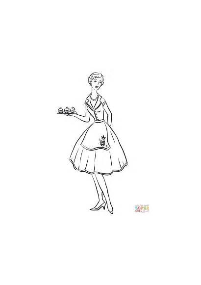 1950s Housewife 1950 Colorear Casa Ama Coloring