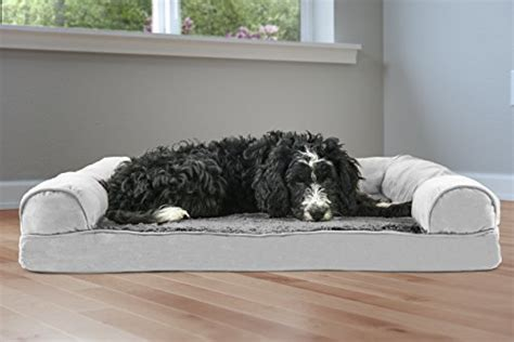 furhaven pet dog bed orthopedic ultra plush sofa style couch pet bed  dogs cats gray