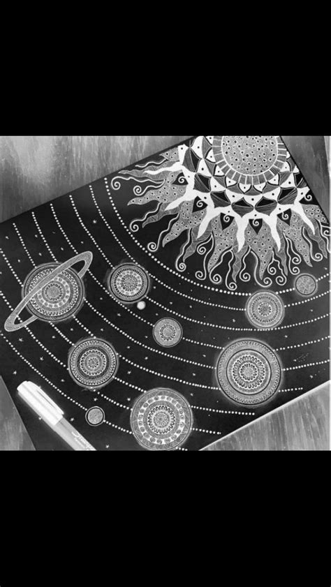 Solar system planets and sun zentangle | Solar system art ...