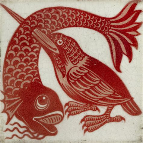 tile  kingfisher  beak  fish  william