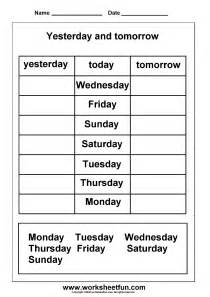 The Worksheet Days Of The Week Yesterday And Tomorrow 6 Worksheets Free Printable Worksheets Worksheetfun