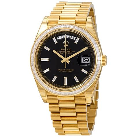 Rolex Day-Date Black Dial 18K Yellow Gold President ...