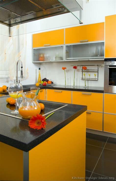 Contemporary Orange Kitchen Cabinets Designs  Interior