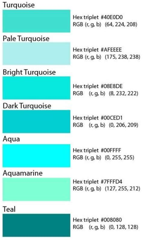 code couleur hexadecimal pour le turquoise teal