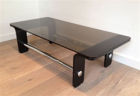 As a guy who doesn't drink a whole lot of coffee, i've because this wood is so thick, i did this in two passes, first having the bearing ride against the template, and next by having the. Mid Century Coffee Table in Black Wood, Chrome and Smoked Glass for sale at Pamono