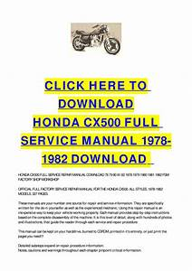 Honda Cx500 Full Service Manual 1978