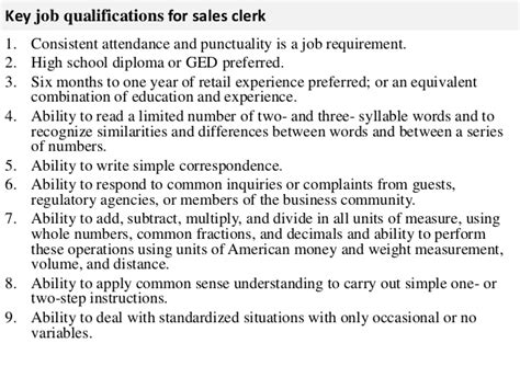 sales clerk resume sales clerk job description