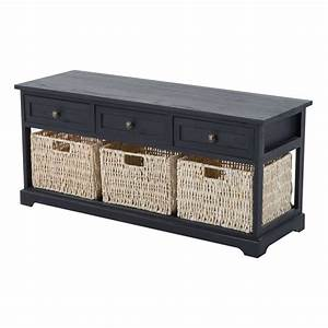 Homcom 40quot 3 drawer 3 basket storage bench benches for Home goods storage furniture