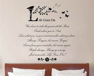 life goes on quote vinyl wall art sticker decal mural home With wall art quotes