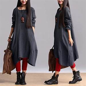 cotton linen casual loose fitting dress m blue With buykud robes