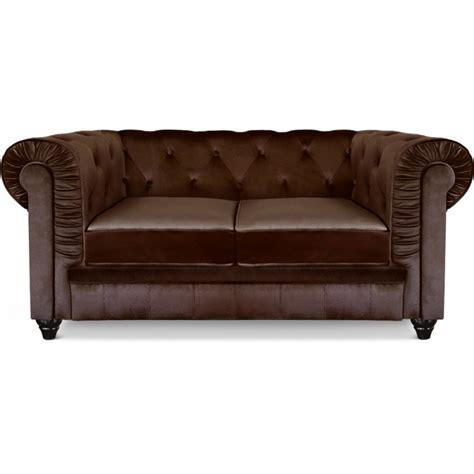 canapé chesterfield marron canapé 2 places chesterfield velours marron pas cher