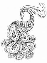 Coloring Peacock Zentangle Adults Printable Adult Mycoloring sketch template