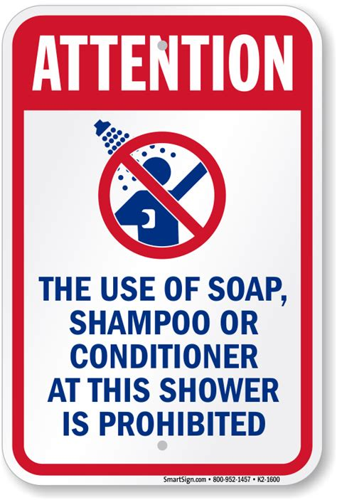 No Soap Shower - shower before entering pool signs