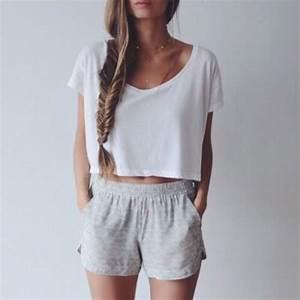 Shorts t-shirt white t-shirt white grey grey shorts summer shorts outfit high waisted ...