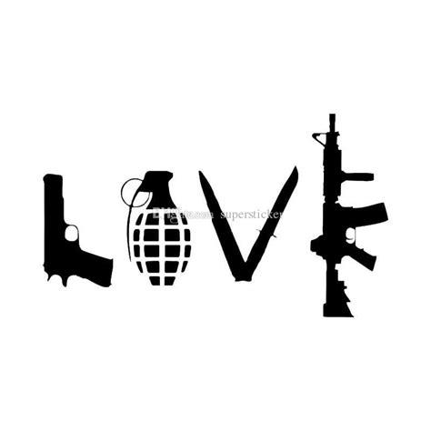hot cm abstract love art word pistol grenade